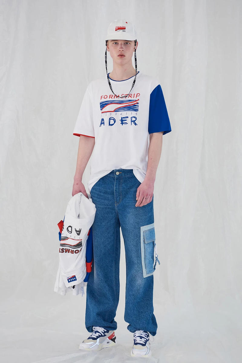 Ader Error x PUMA Spring Summer 2019 Lookbook T-shirt White Jeans Blue