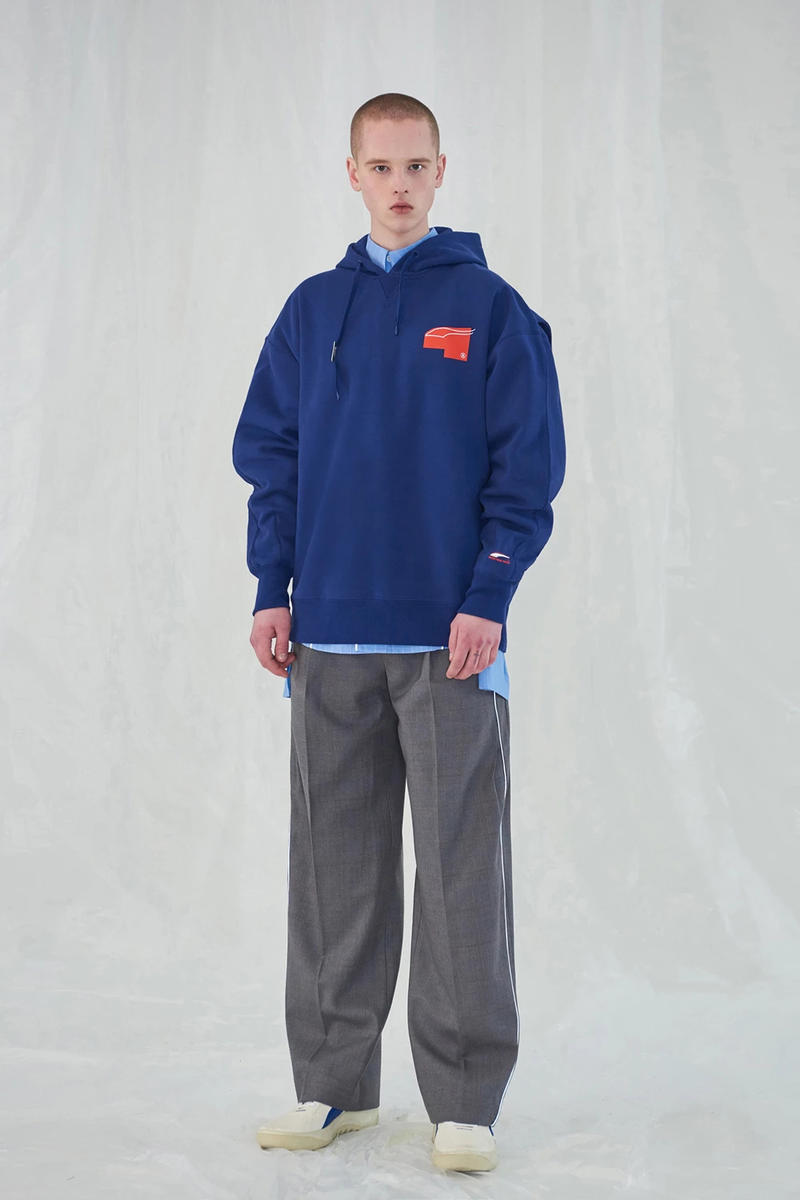 Ader Error x PUMA Spring Summer 2019 Lookbook Hoodie Blue Pants Grey