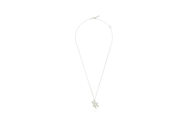 AMBUSH Metallic Teddy Bear Charm Silver Chain Necklace
