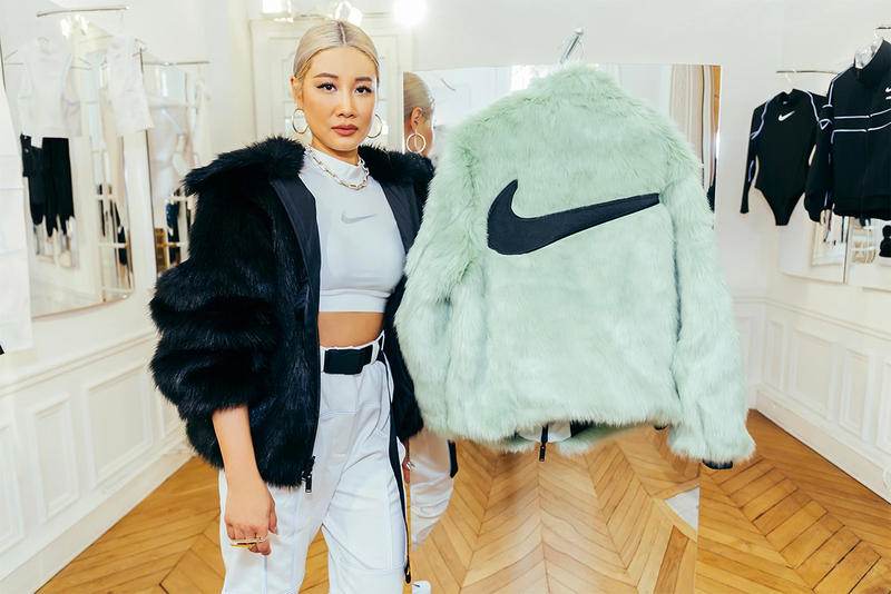 AMBUSH x Nike Collaboration Yoon Ahn Designer Green Mint Fur Jacket Swoosh 2018 Paris