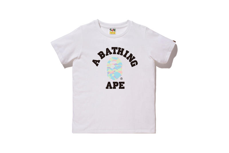 BAPE Pastel Camouflage Collection APE Head T-shirt White Green