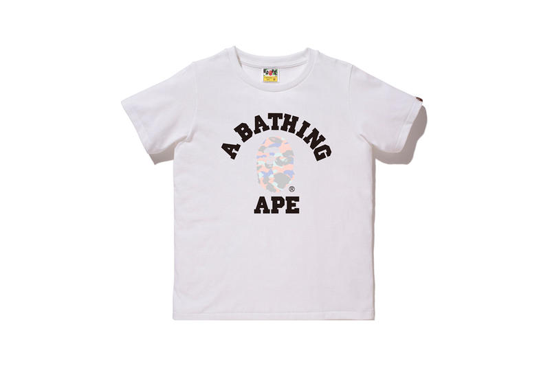 BAPE Pastel Camouflage Collection APE Head T-shirt White Pink