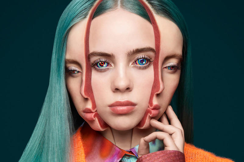 Billie Eilish on the Cover of Garage Magazine Takashi Murakami Art Split Portrait