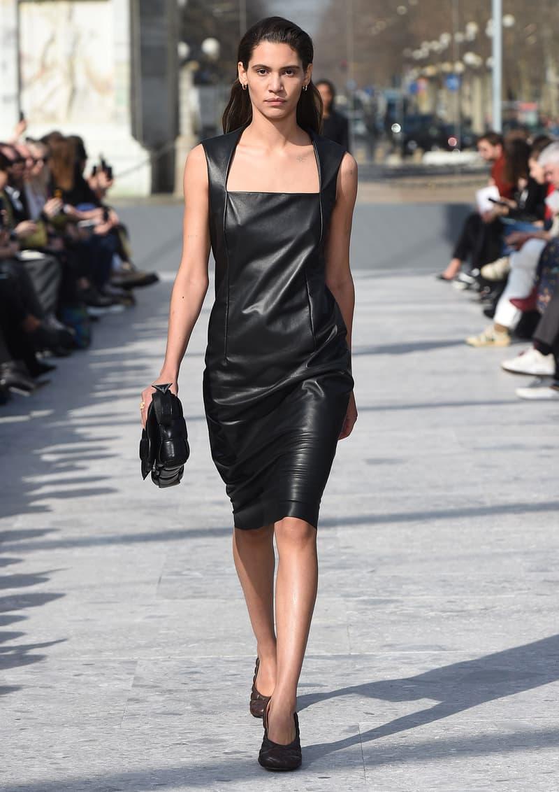 Bottega Veneta Milan Fashion Week Fall Winter 2019 FW19 Daniel Lee Debut Runway Show black leather dress