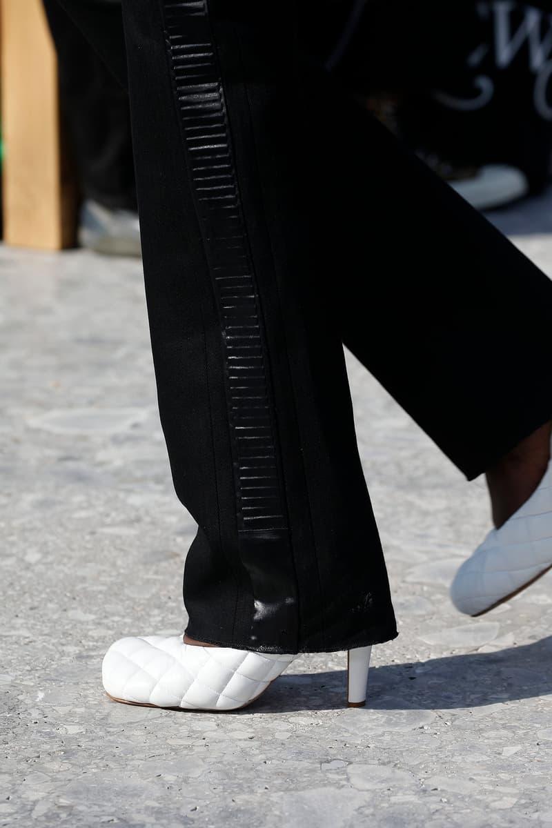 Bottega Veneta Milan Fashion Week Fall Winter 2019 FW19 Daniel Lee Debut Runway Show white leather heels