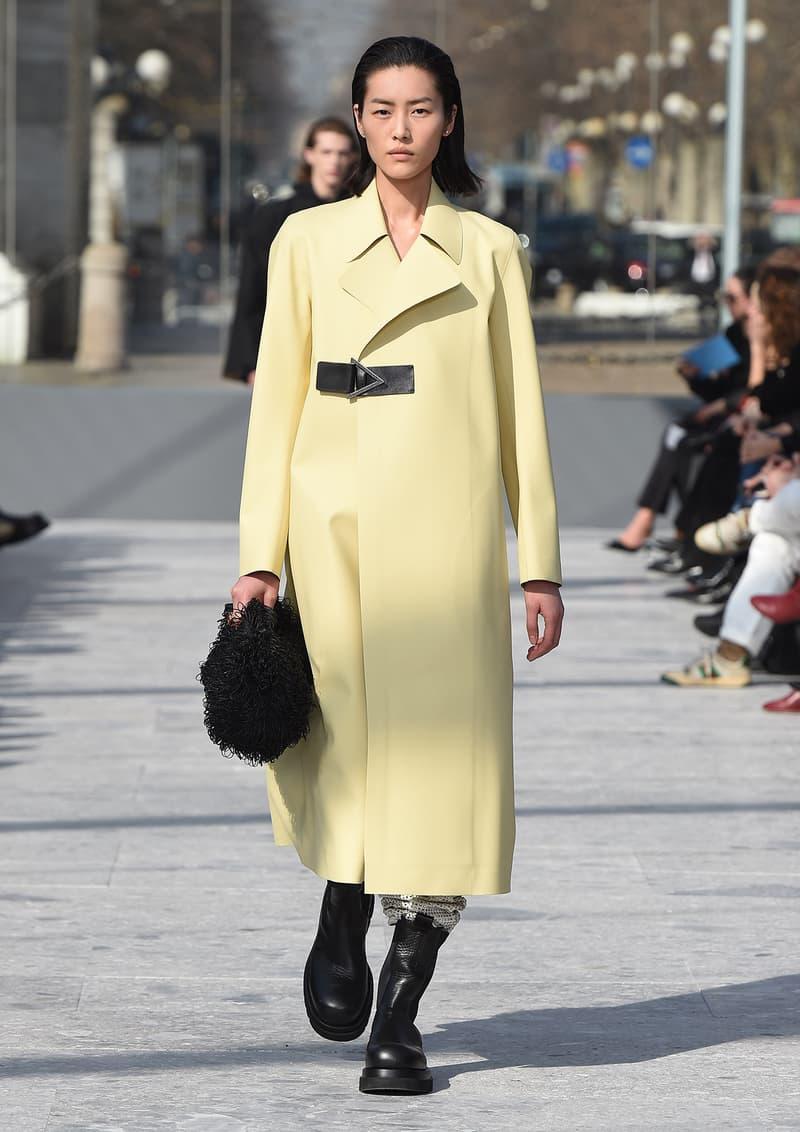 Bottega Veneta Milan Fashion Week Fall Winter 2019 FW19 Daniel Lee Debut Runway Show yellow pastel coat