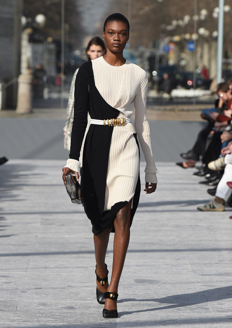 Bottega Veneta Milan Fashion Week Fall Winter 2019 FW19 Daniel Lee Debut Runway Show white black dress