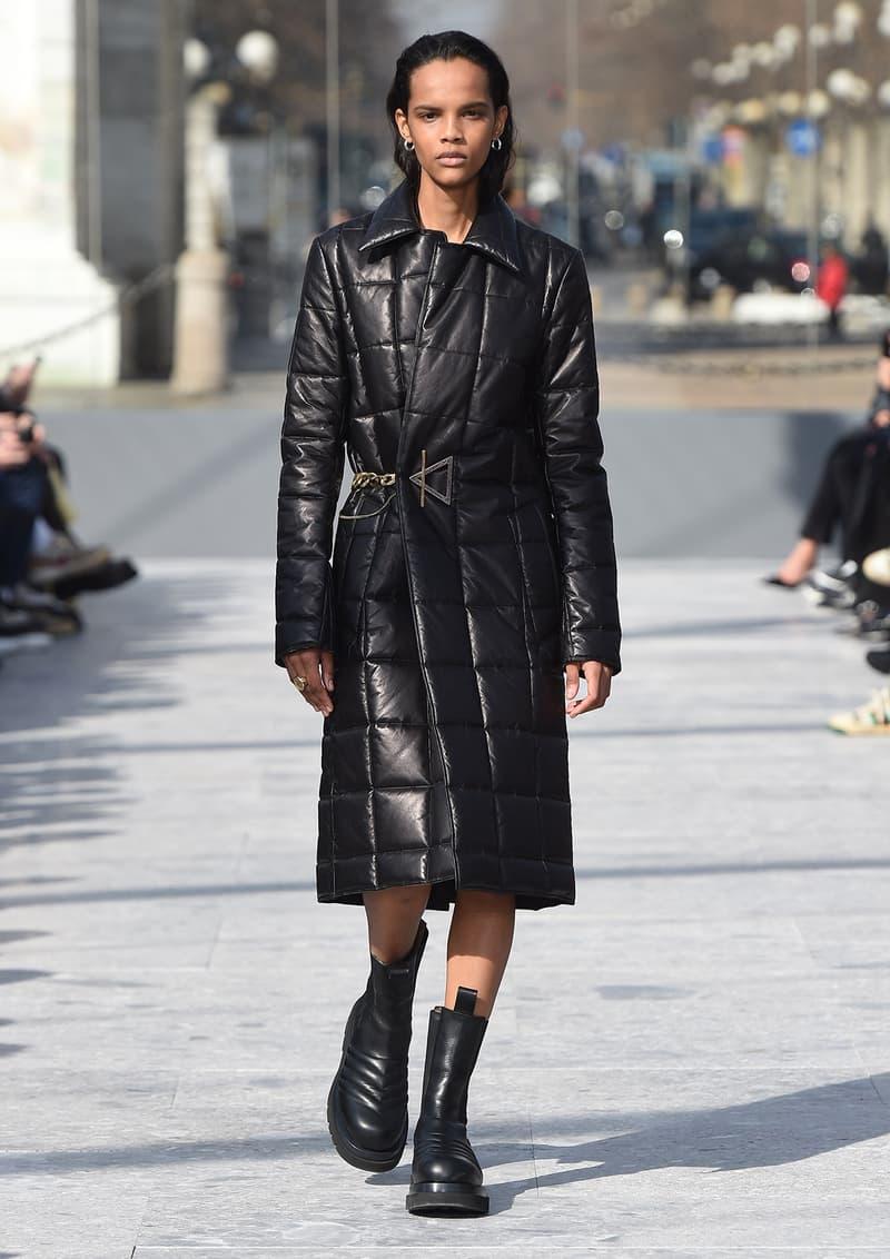 Bottega Veneta Milan Fashion Week Fall Winter 2019 FW19 Daniel Lee Debut Runway Show black leather coat boots
