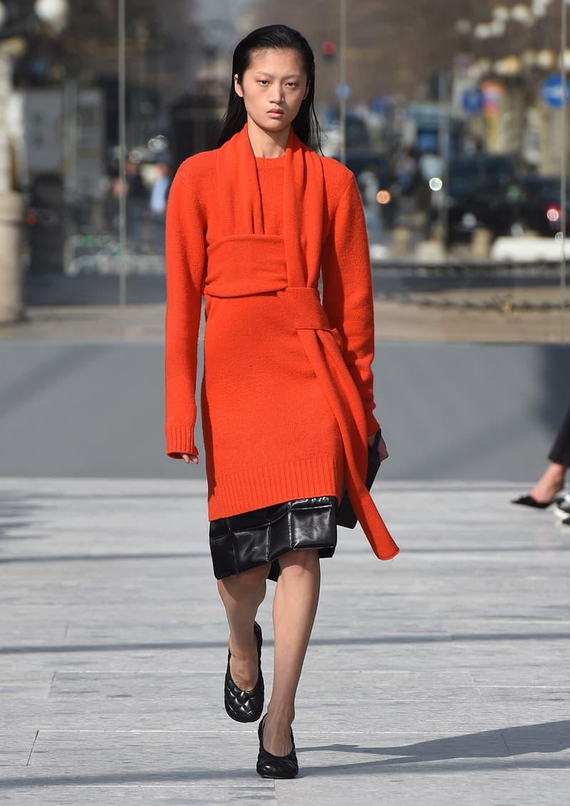 Bottega Veneta Milan Fashion Week Fall Winter 2019 FW19 Daniel Lee Debut Runway Show red orange sweater dress