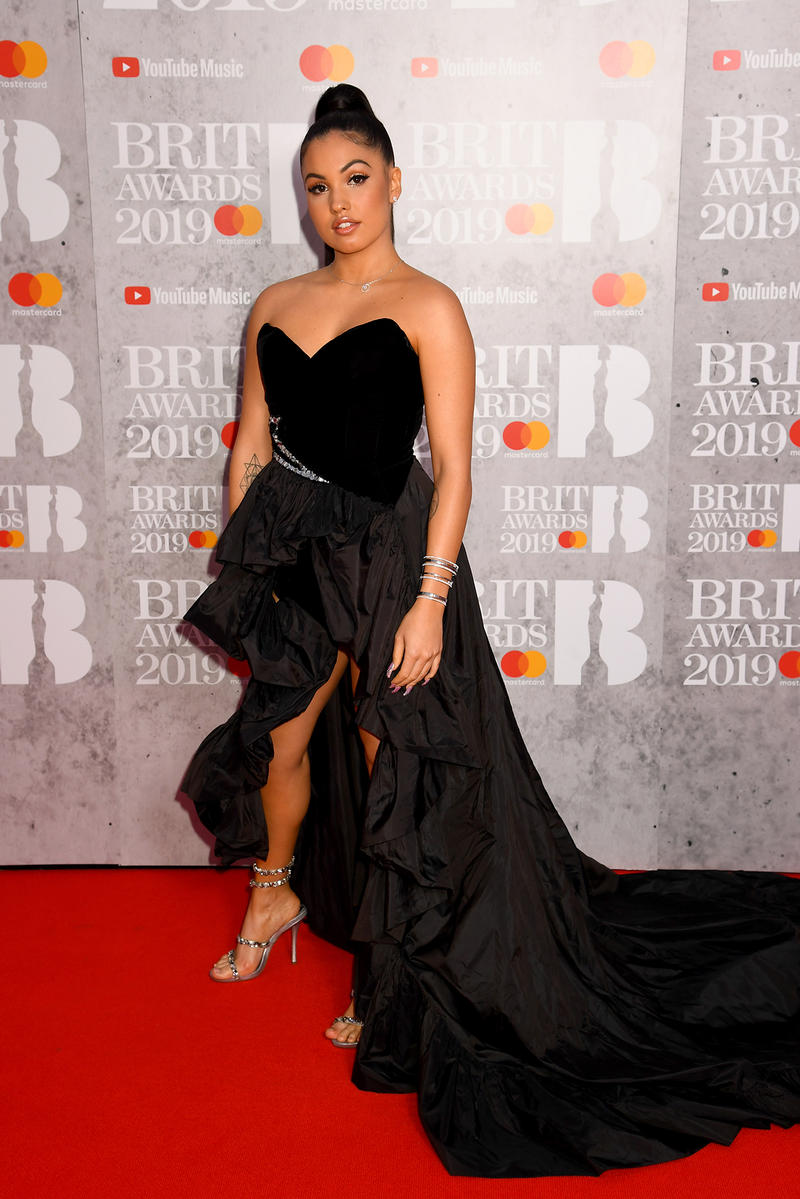 Mabel Mcvey Brit awards 2019 red carpet black dress gown