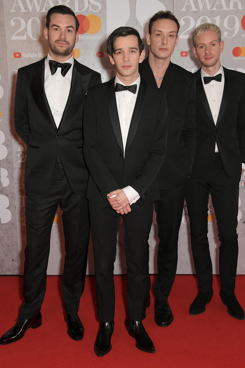 The 1975 Brit Awards 2019 Red Carpet Ross MacDonald Matthew Healy George Daniel Adam Hann