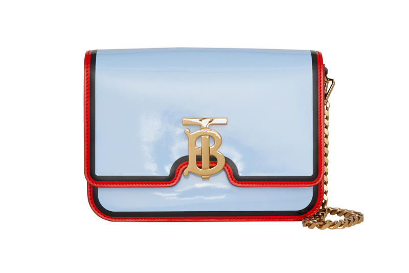 Burberry Small Painted Edge Leather TB Bag Pale Blue