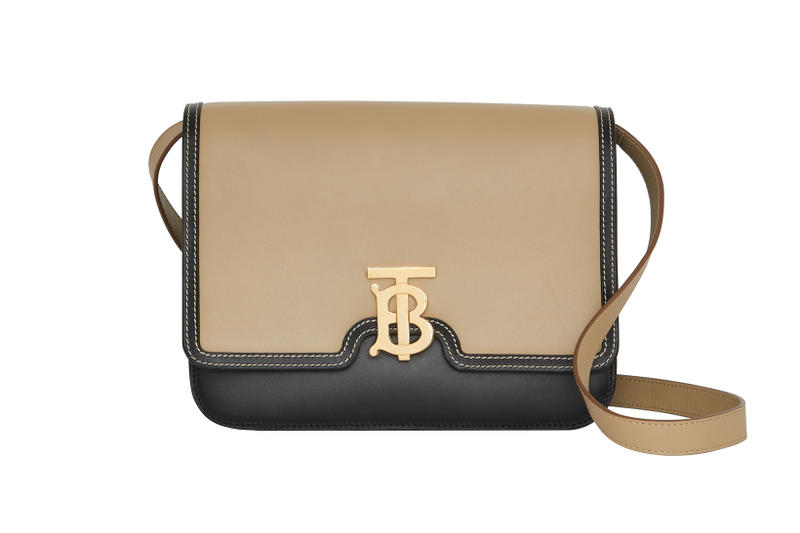 Burberry Small Leather TB Bag Light Camel Black
