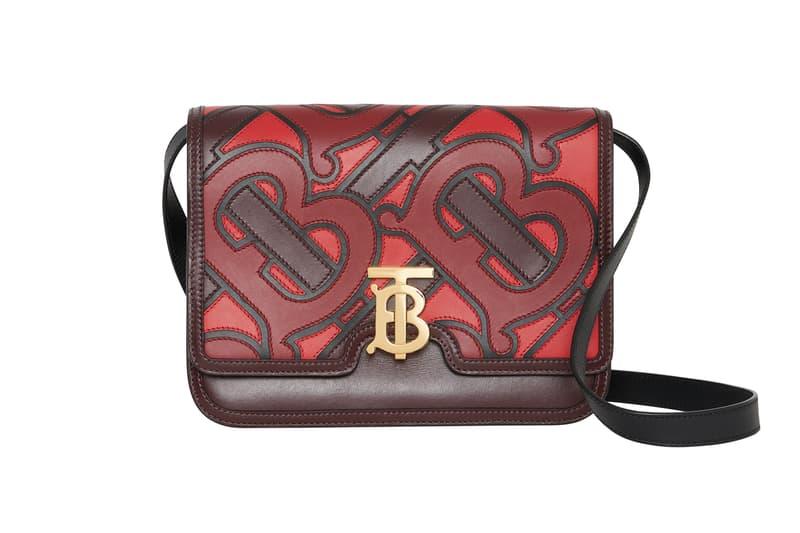 Burberry Medium Monogram Applique Leather TB Bag Oxblood