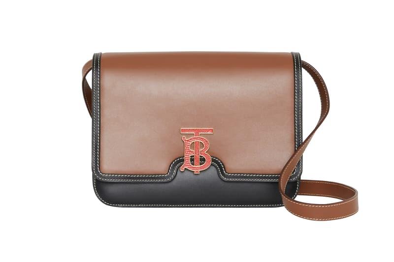 Burberry Medium Two-Tone Leather TB Bag Malt Brown Black