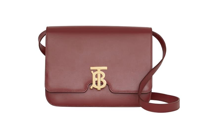 Burberry Small Leather TB Bag Crimson