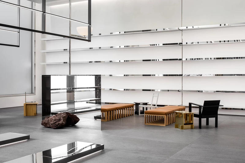 CELINE New York City Flagship Store Front Chairs Brown Black Floor Silver