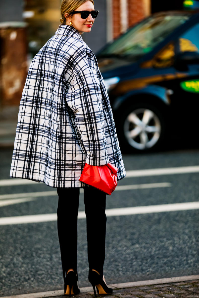 Copenhagen Fashion Week FW19 Streetstyle Snaps Jacket Plaid Bag Red