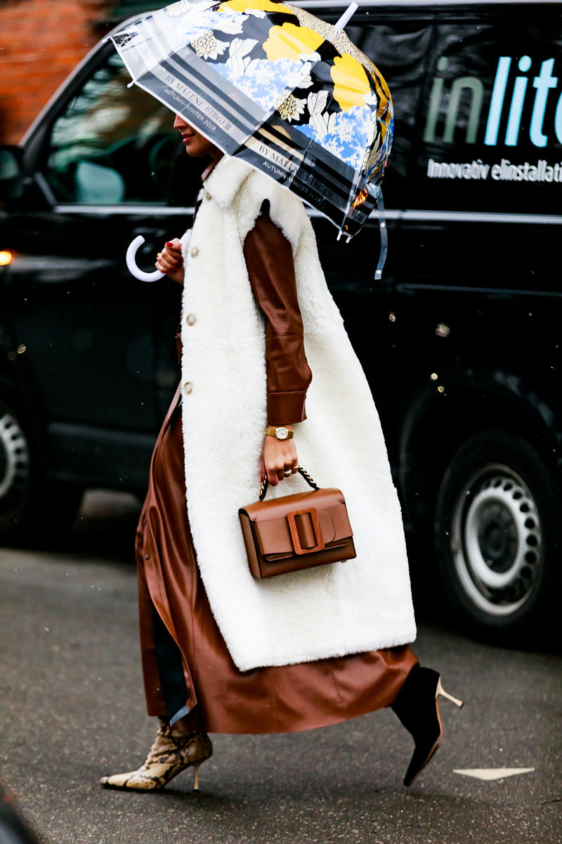 Copenhagen Fashion Week FW19 Streetstyle Snaps Jacket White Bag Brown