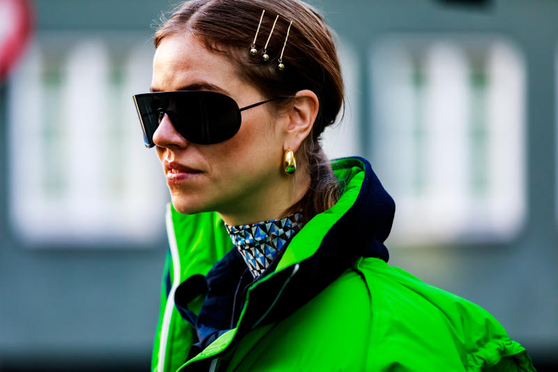 Copenhagen Fashion Week FW19 Streetstyle Snaps Jacket Green Hair Pins Gold Sunglasses Black