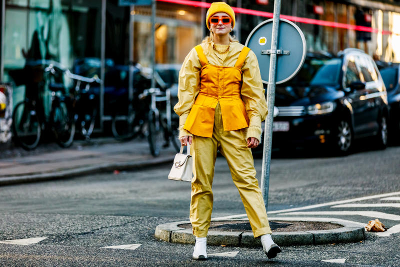 Copenhagen Fashion Week FW19 Streetstyle Snaps Top Pants Yellow Bag White