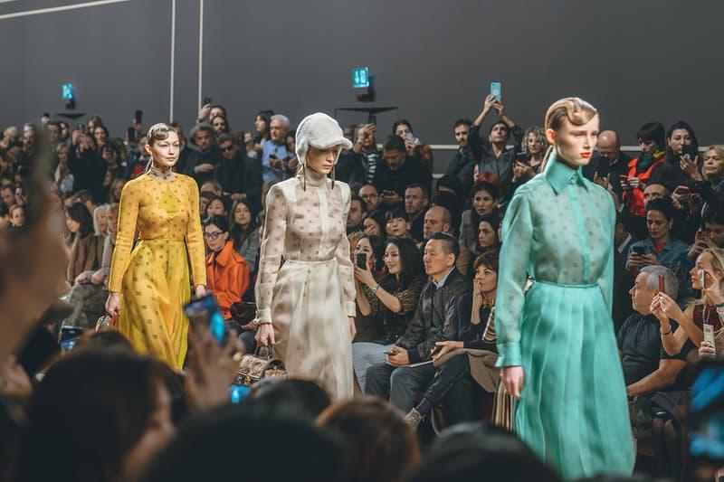 gigi bella hadid fendi karl lagerfeld fall winter 2019 fw19 milan fashion week final last runway show finale models yellow dress white blue
