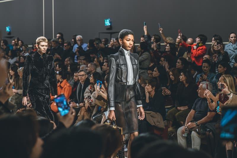 karl lagerfeld fall winter 2019 fw19 milan fashion week final last runway show finale models black leather jacket skirt