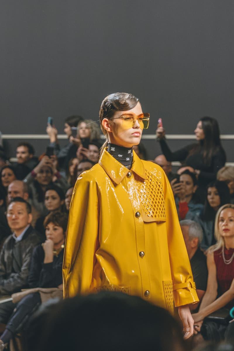 karl lagerfeld fall winter 2019 fw19 milan fashion week final last runway show finale model yellow sunglasses coat