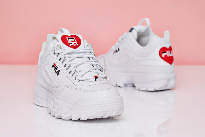 FILA Disruptor Heart Valentine's Day Sneakers Trainers OFFICE