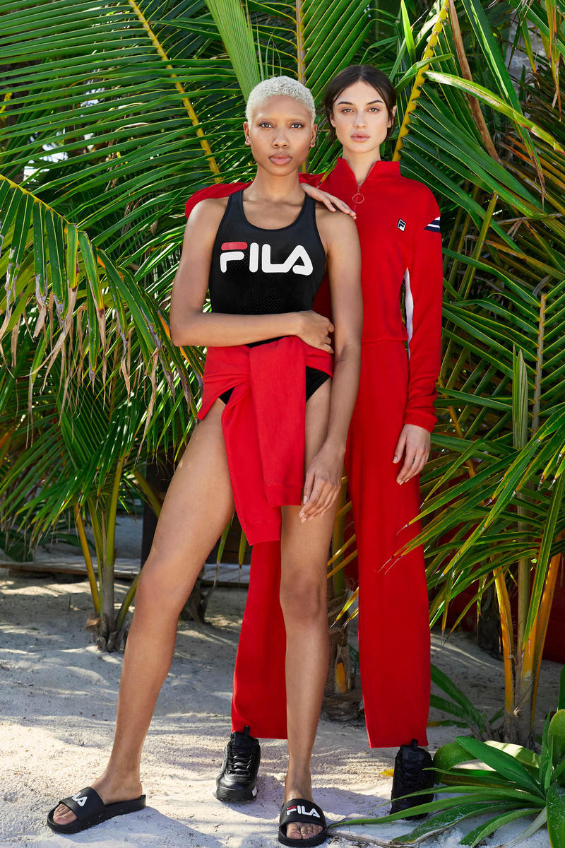 FILA Spring Summer 2019 Collection Lookbook Swimsuit Navy Tracksuit Red