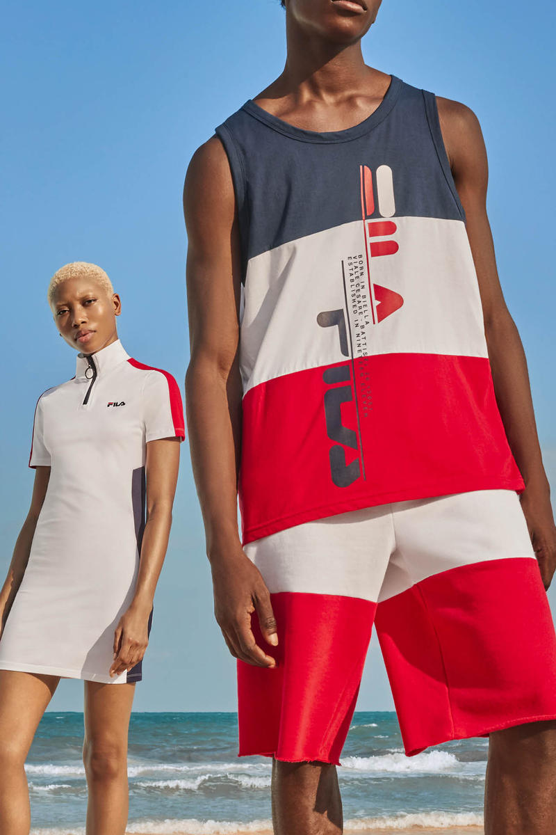 FILA Spring Summer 2019 Collection Lookbook Dress White Top Shorts Red Navy