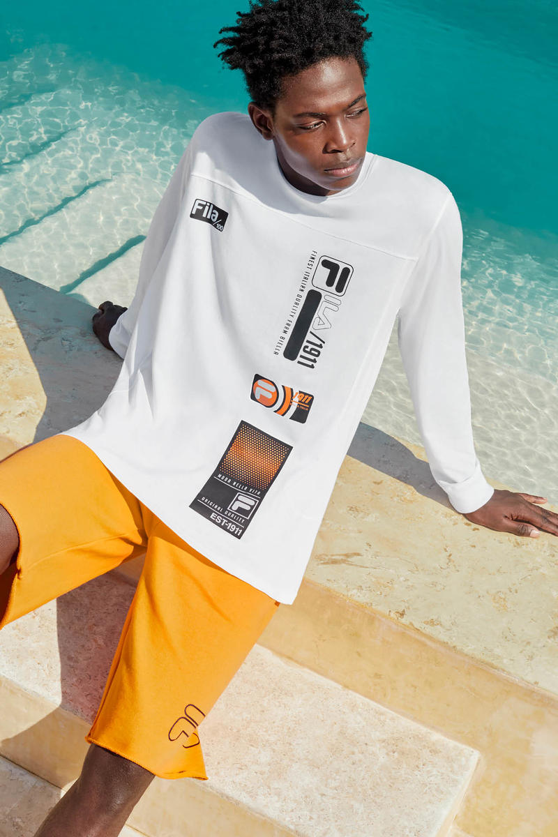 FILA Spring Summer 2019 Collection Lookbook Top White Shorts Yellow