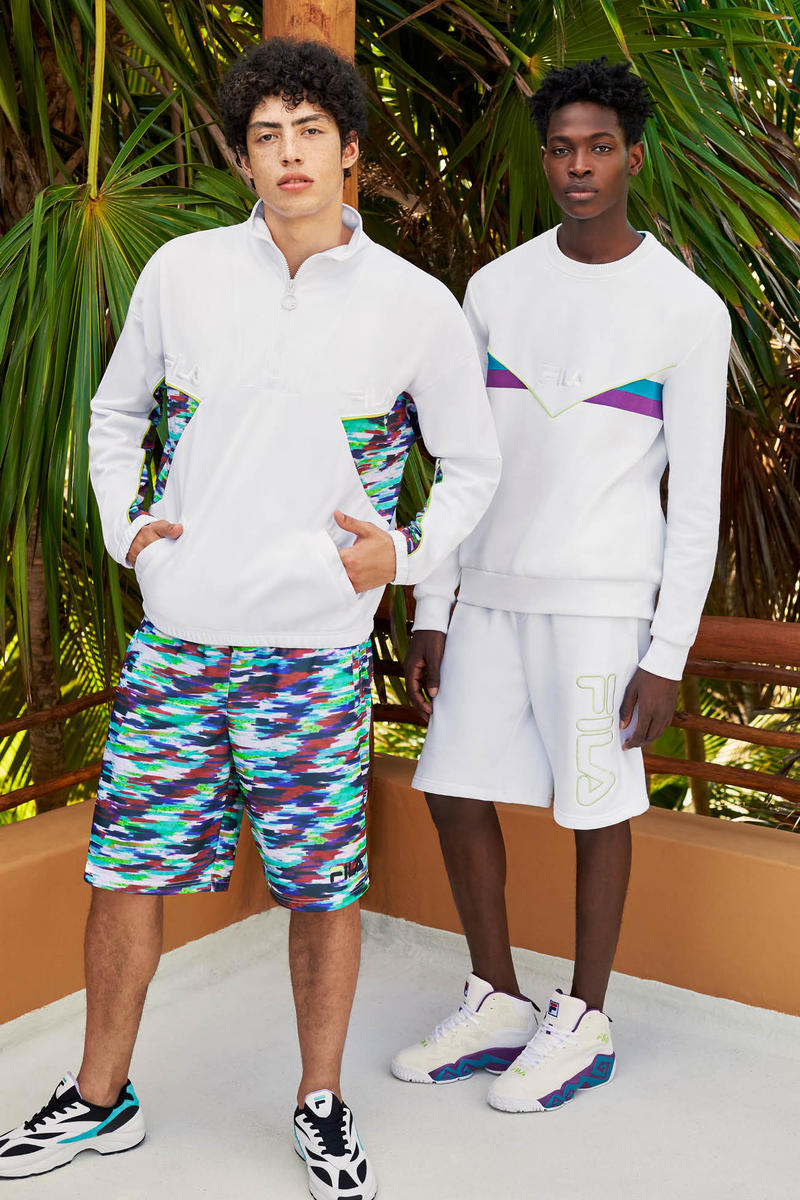 FILA Spring Summer 2019 Collection Lookbook Jacket Top Grey Shorts Teal Purple