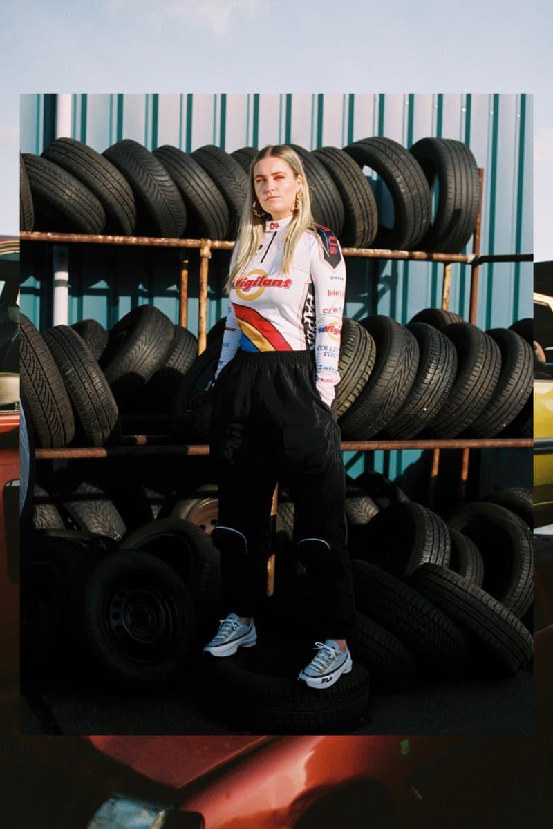 Girl on Kicks FILA DSTR97 Editorial Sneakers Top White Red Navy Pants Black