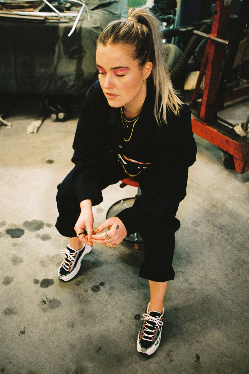 Girl on Kicks FILA DSTR97 Editorial Sneakers White Navy Red Tracksuit Black
