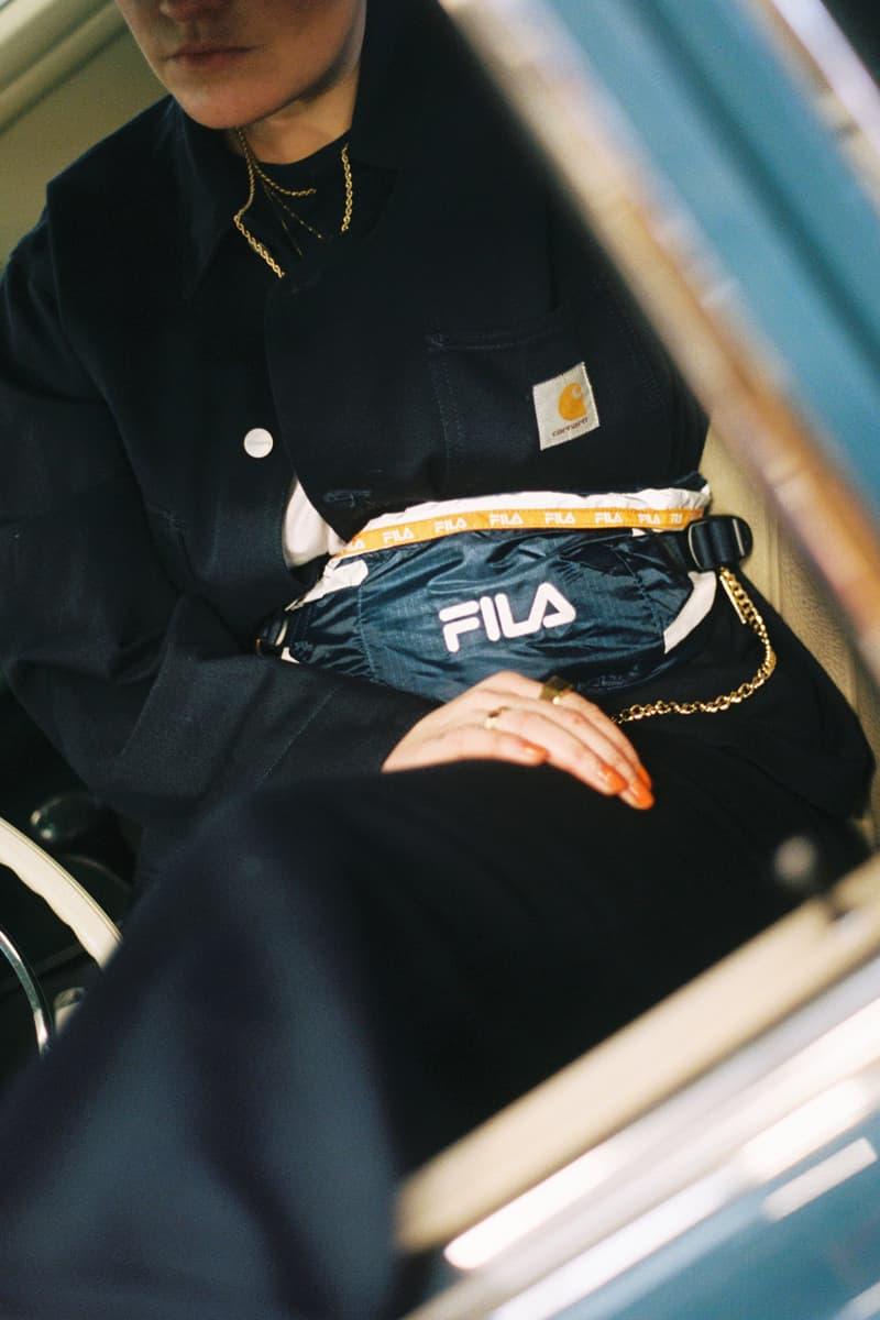Girl on Kicks FILA DSTR97 Editorial Top Pants Black Fanny Pack Yellow