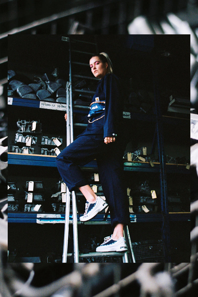 Girl on Kicks FILA DSTR97 Editorial Sneakers White Navy Red Top Pants Black