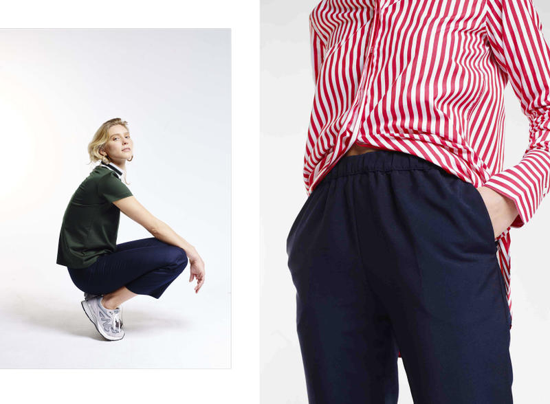 Harmony Paris A Daily Uniform Collection Lookbook Top Green Trousers Navy Shirt Red