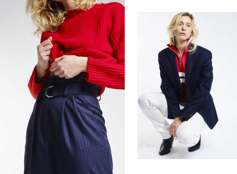 Harmony Paris A Daily Uniform Collection Lookbook Jacket Navy Trousers White Blue Sweater Red