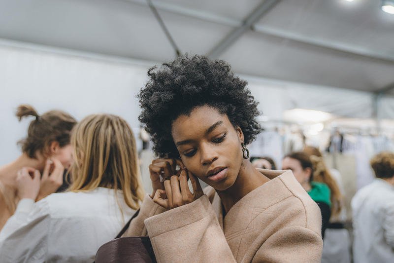 Jil Sander Fall Winter 2019 Runway Show Backstage Milan Fashion Week model black