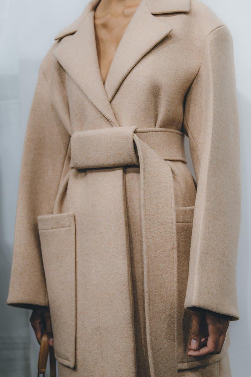 Jil Sander Fall Winter 2019 Runway Show Backstage Milan Fashion Week beige coat wrap camel