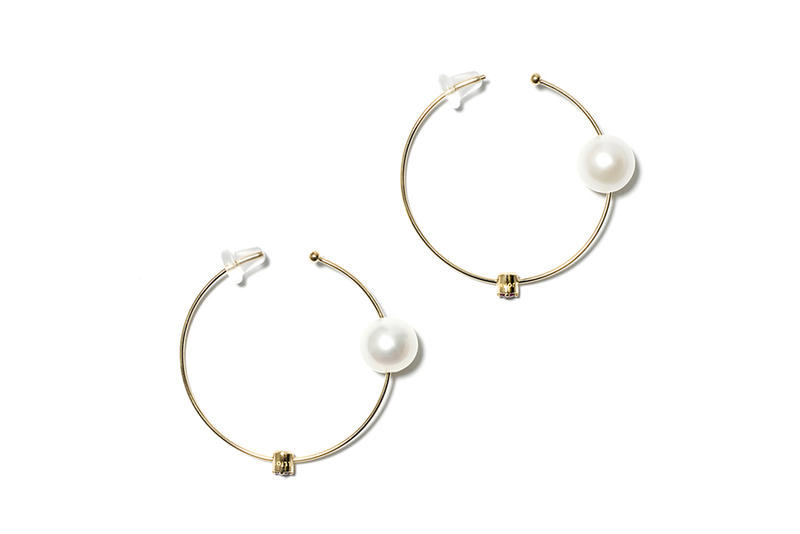 John Elliott x M.A.R.S Jewelry Collection Pearl Ruby Hoop Earrings Gold