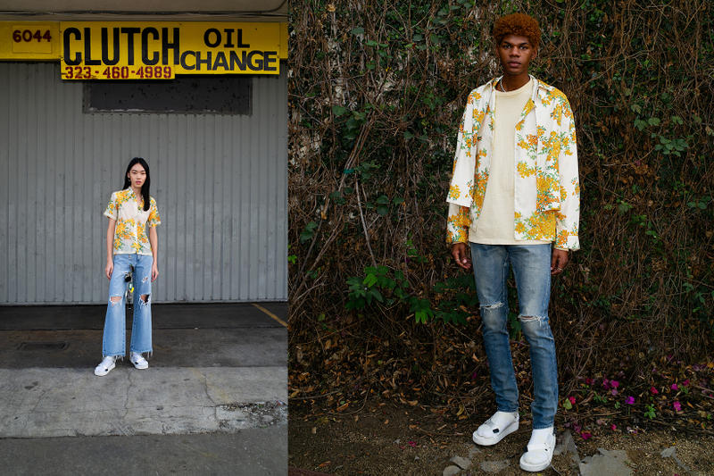 John Elliott Spring Summer 2019 Lookbook Floral Shirts Yellow White Pants Blue