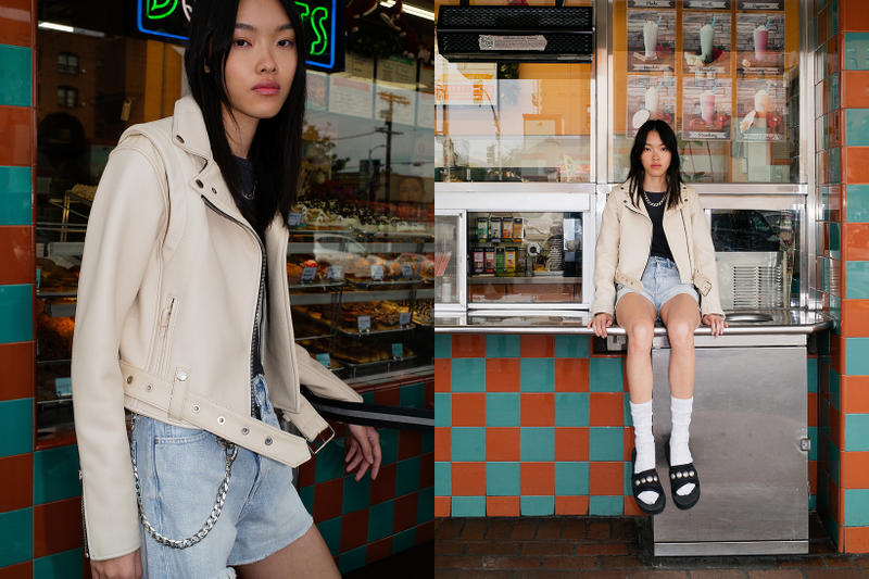 John Elliott Spring Summer 2019 Lookbook Leather Jacket Cream Shorts Blue