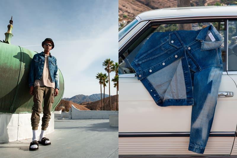 John Elliott Spring Summer 2019 Lookbook Jacket Blue Shirt Tan Pants Green Sandals Black