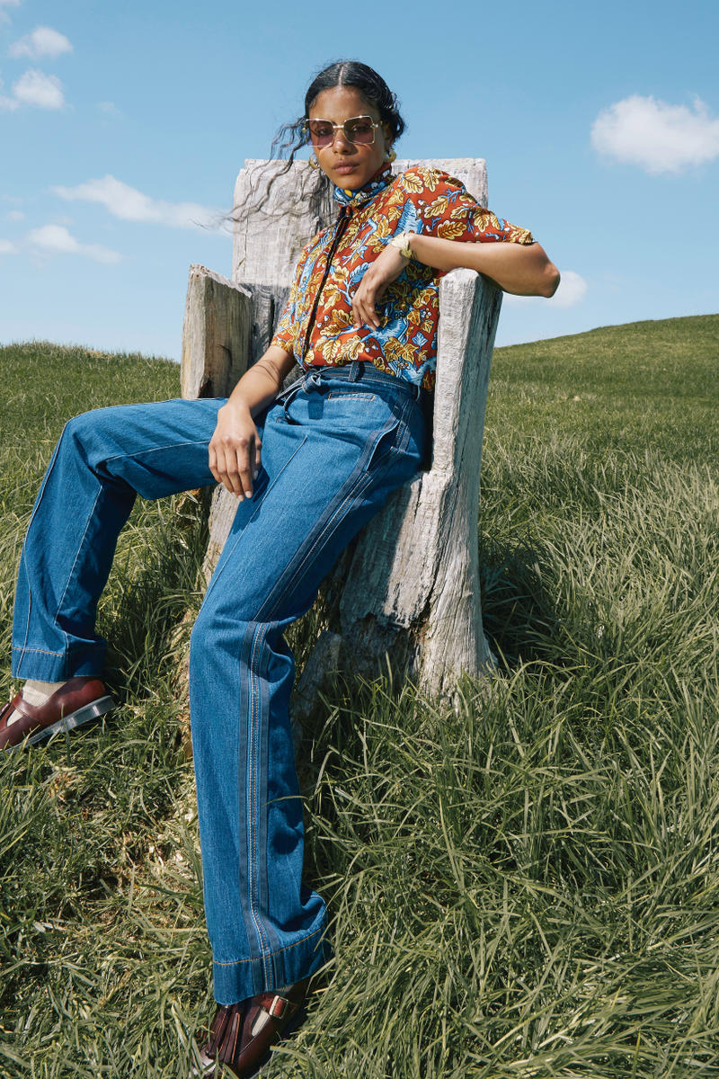 Karen Walker Fall Winter 2019 Lookbook Shirt Brown Pants Blue