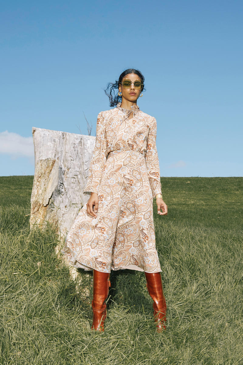 Karen Walker Fall Winter 2019 Lookbook Dress Tan Boots Brown