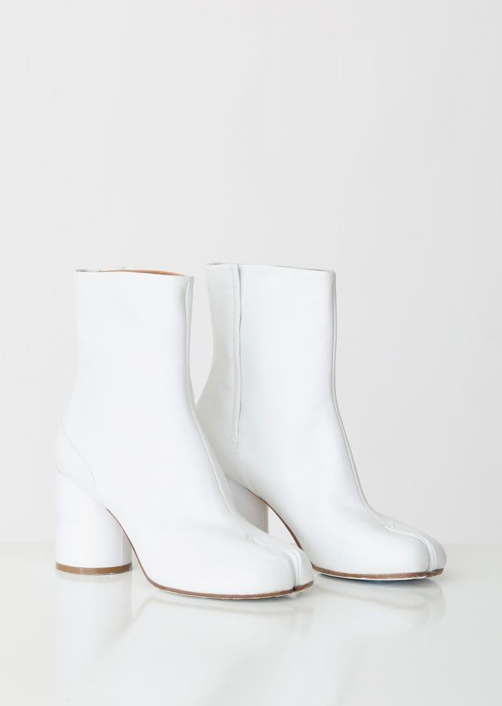 White Tabi Boots Hologram Heels