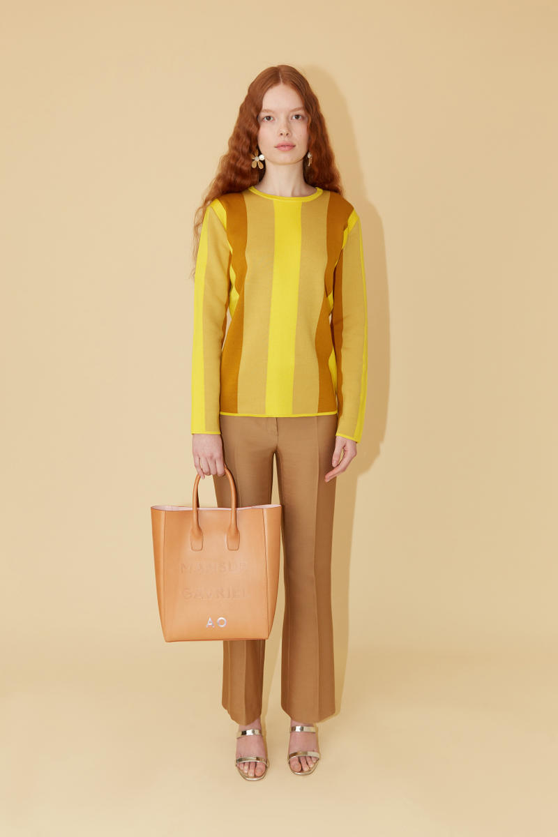 921ff4442fe0d Mansur Gavriel Spring Summer 2019 Lookbook Sweater Yellow Pants Tan