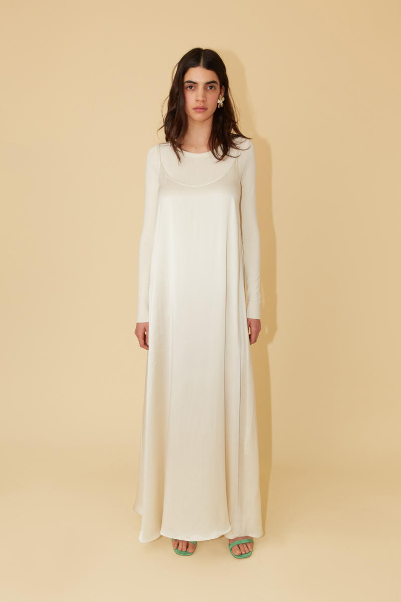 Mansur Gavriel Spring Summer 2019 Lookbook Slip Dress Shirt White